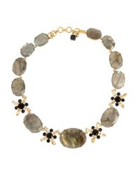 Bounkit | Metallic Goldplated Labradorite Onyx and Quartz Necklace | Lyst