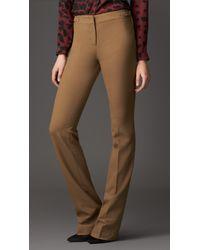 Burberry | Brown Crêpe Jersey Straight Leg Trousers | Lyst