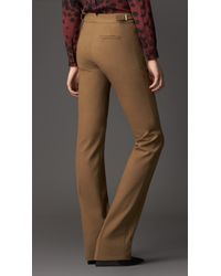 Burberry - Brown Crêpe Jersey Straight Leg Trousers - Lyst