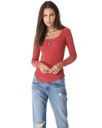 Free People | Red Synergy Cuff Top | Lyst