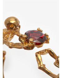 Alexander McQueen - Metallic Skeleton Crystal Hinge Bangle - Lyst