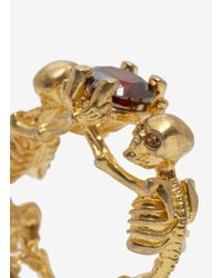 Alexander McQueen - Red Two Skeletons Ring - Lyst