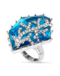 Betsey Johnson - Silvertone Blue Crystal Stretch Ring - Lyst