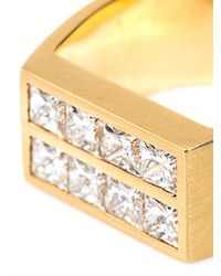 DINA KAMAL DK01 | Metallic Diamond and Gold Flat Plate Pinky Ring | Lyst