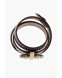 Givenchy - Brown Purple Textured Leather Triple_wrap Obsedia Bracelet - Lyst
