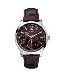 Guess - Black Watch Mens Brown Croc Embossed Leather Strap 35mm for Men - Lyst