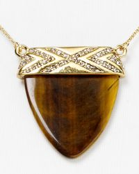 House of Harlow 1960 - Metallic Interlude Tigers Eye Pendant Necklace 16 - Lyst