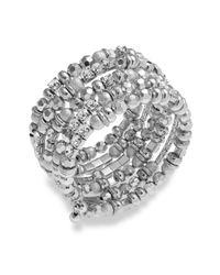 INC International Concepts | Metallic Silvertone Crystal Coil Bracelet | Lyst