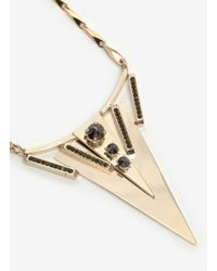 Iosselliani - Metallic Black Stones Triangle Pendant Necklace - Lyst