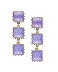 kate spade new york | Kate Spade New York Earrings Gold Tone Light Purple Stone Linear Drop Earrings | Lyst