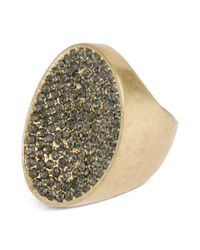 Kenneth Cole | Metallic Goldtone Pave Oval Ring | Lyst