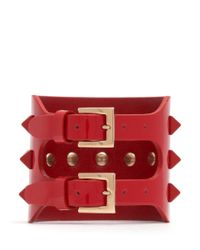 Valentino | Red 'rockstud' Wide Patent Leather Bracelet | Lyst