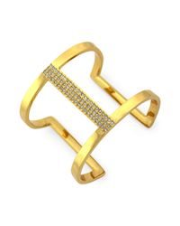 Vince Camuto - Metallic Gold-tone Glass Crystal Cut-out Cuff Bracelet - Lyst
