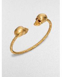 Alexander McQueen | Metallic Twin Skull Cuff Bracelet/goldtone | Lyst