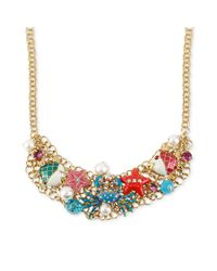 Betsey Johnson | Multicolor Antique Goldtone Crab Multicharm Frontal Necklace | Lyst