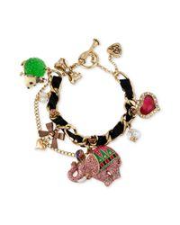 Betsey Johnson | Multicolor Antique Gold Tone Elephant and Possum Charm Toggle Bracelet | Lyst