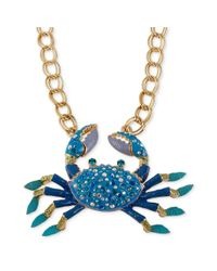 Betsey Johnson | Antique Goldtone Large Blue Crab Frontal Necklace | Lyst