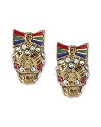 Betsey Johnson - Multicolor Gold-tone Crystal Skull Stud Earrings - Lyst