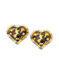 Betsey Johnson - Metallic Leopard Heart Studs - Lyst