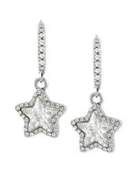 Betsey Johnson   Metallic Silver-tone Glass Crystal Star Drop Earrings   Lyst