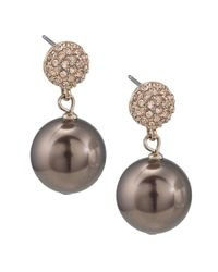 Carolee - Metallic Large Glass Pearl Double Drop Earrings - Lyst