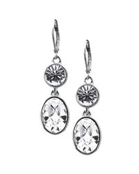 Givenchy - Metallic Silver Tone Swarovski Element Double Drop Earrings - Lyst