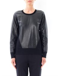 Helmut Lang - Black Leather Panel Sweatshirt for Men - Lyst