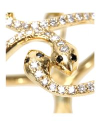Ileana Makri - Yellow 18kt Gold Snake Parade Ring With White And Black Diamonds - Lyst
