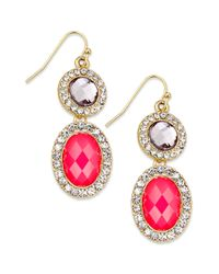 INC International Concepts - Multicolor 14k Goldplated Fireberry Cabochon and Black Glass Double Drop Earrings - Lyst