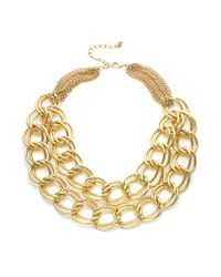 INC International Concepts | Metallic Gold-tone Double Link Necklace | Lyst