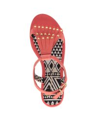 Jessica Simpson Red Dexter Fringe Flat Sandals