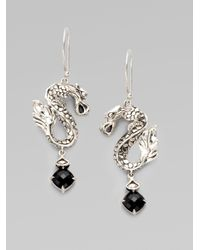 John Hardy - Black Chalcedony and Sterling Silver Dragon Earrings - Lyst