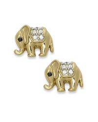 Juicy Couture - Metallic Gold Tone Elephant Stud Earrings - Lyst