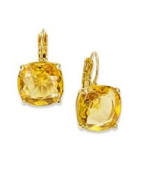 Kate Spade | Orange Earrings, 12k Gold-plated Colorado Crystal Square Leverback Earrings | Lyst