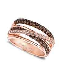 Le Vian - Pink 14k Rose Gold White and Chocolate Diamond Crisscross Ring 78 Ct Tw - Lyst