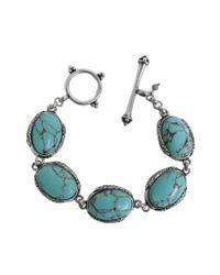 Lucky Brand | Metallic Silver Tone Semiprecious Turquoise Stone Toggle Bracelet | Lyst