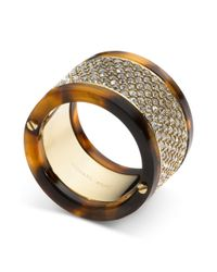 Michael Kors | Brown Goldtone Tortoise Pave Barrel Ring | Lyst
