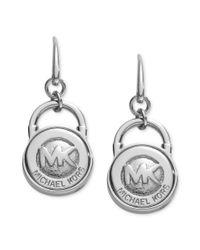Michael Kors   Metallic Silver Tone Logo Lock Earrings   Lyst