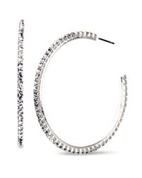 Nine West - Metallic Crystal Hoop Earrings - Lyst