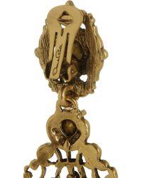 Oscar de la Renta - Brown Goldplated Crystal Clip Earrings - Lyst