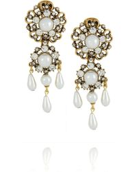 Oscar de la Renta | Metallic Goldplated Crystal and Faux Pearl Clip Earrings | Lyst