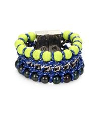 Proenza Schouler - Blue Neon Bead Chain and Rope Bracelet - Lyst