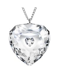Swarovski | White Rhodium-plated Crystal Truthful Heart Pendant Necklace | Lyst
