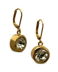 T Tahari - Metallic Earrings, Gold-tone Bezel Crystal Signature Drop Earrings - Lyst