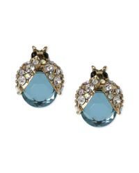 Betsey Johnson - Metallic Gold-tone Blue Glass Crystal Bug Stud Earrings - Lyst