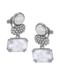 Carolee | Metallic Silver Tone Glass Simulated Pearl Triple Drop Earrings | Lyst