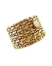 Jessica Simpson | Metallic Antique Gold Tone Stretch Cuff | Lyst