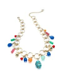 Lauren by Ralph Lauren | Gold Tone Multicolor Bead Charm Necklace | Lyst