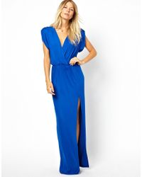 Love | Blue Wrap Front Maxi Dress with Thigh Split | Lyst