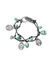Lucky Brand | Metallic Silver Tone Turquoise Charm Knotted Leather Bracelet | Lyst